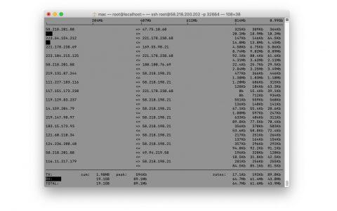 Linux(CentOS)网络流量实时监控(iftop)-AS4134